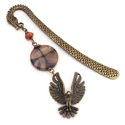 Eagle Gemstone - Dragon, eagle and chiastolite cross gemstone bronze metal unique bookmark