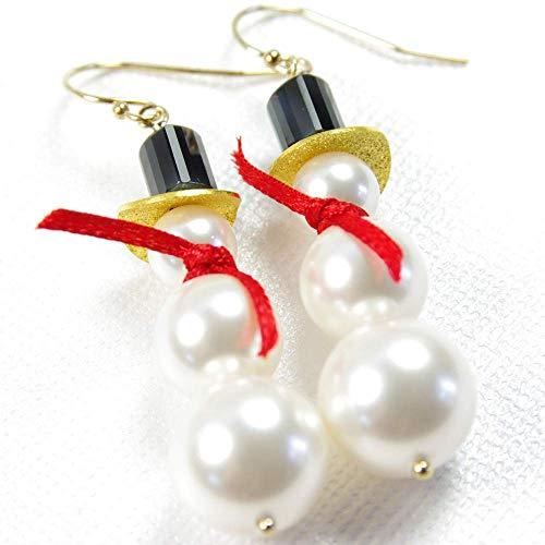 (Snowman Earrings White Swarovski Pearl 14kt Gold Filled )