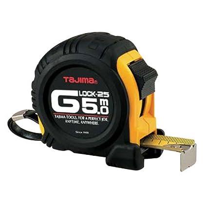 TAJIMA G5P50MY ShockResistant Tape Measure, Black, 5 m x 25 mm