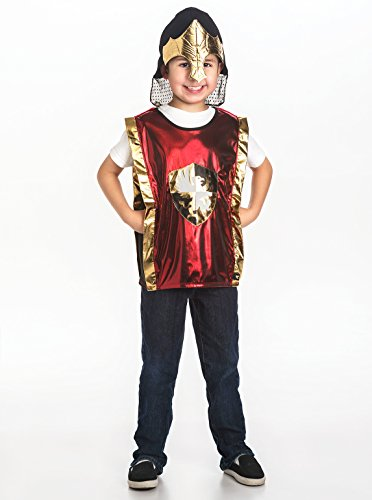 [Little Adventures Boys Red & Gold Armor & Helmet Set - One-Size (3-8 Yrs)] (Dark Helmet Helmet Costumes)