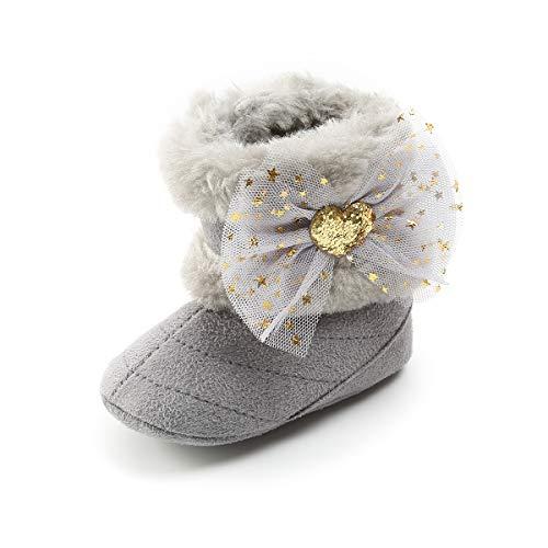 Kuner Infant Baby Girls Boys Tassel Plush Moccasins Non-Slip Prewalker Outdoor Warm Snow Boots 0-18Months (12cm(6-12months), Grey-2)