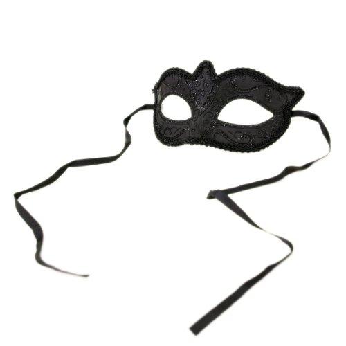 Unisex Black Venetian Mardi Gras Masquerade Costume Mask, v2 (31041) ()