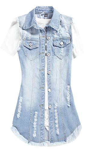 原始的な脅迫銛Qiangjinjiu 女性のデニムベストジャケットノースリーブファッションカジュアルスリムジーンズウエストコート