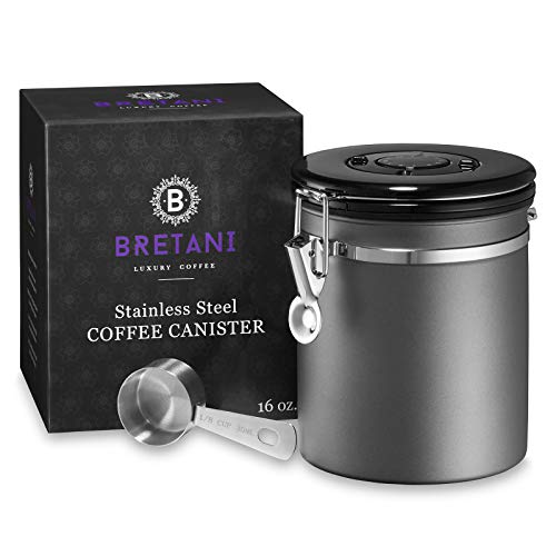 Bretani 16 oz. Stainless Steel Coffee Canister & Scoop Set - Medium Airtight Kitchen Storage Container for Storing Beans & Grounds - Dark Gray