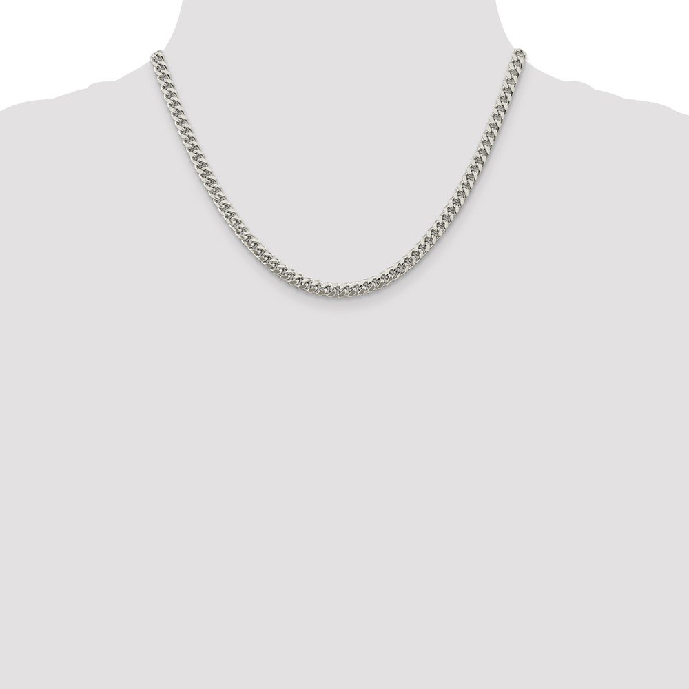 925 Sterling Silver 5mm Domed Curb Chain Necklace