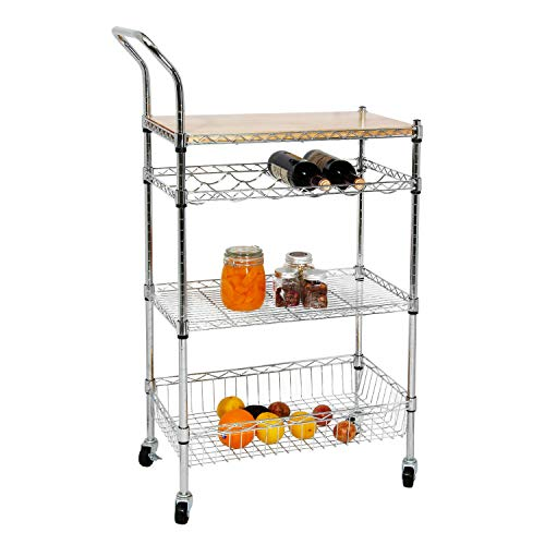 soges Premium Kitchen Rack with Solid Wood Cutting Board, Rolling Kitchen Storage Cart, Bar Serving Trolley Wine Rack, Moving Units for Home, Kitchen, Bathroom, Stainless Steel KS-ZSCS-04 by soges (Image #1)