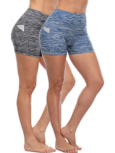 Cadmus Women's Tummy Control Workout Running Short Out Pocket,2 Pack,1015,Black & Navy Blue,Small