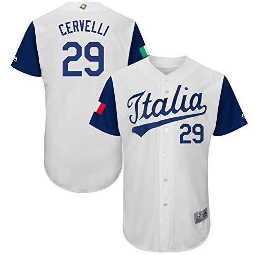 Men's #29 Francisco Cervelli Jersey 2017 World Baseball Classic Jerseys Italy Authentic White L (Italy Baseball Jersey)