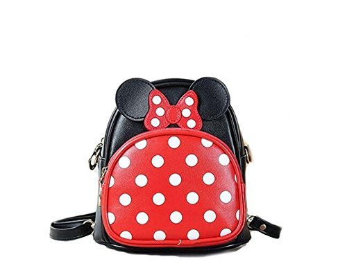 Finex Minnie Mouse Backpack Small 2-in-1 Crossbody bag Mini Backpack - Multifunction Makeup Travel Mini Handbag with Long Shoulder Adjustable Strap PU Leather for Women Girls -