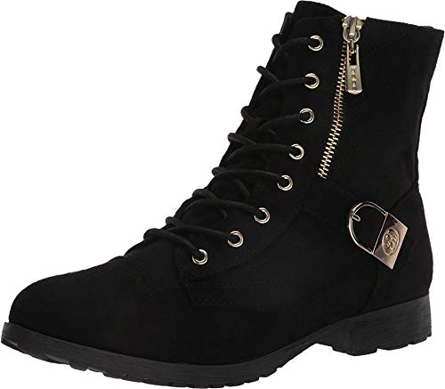 bebe Womens Side Zipper Lace Up Military Boot,Black,8.5