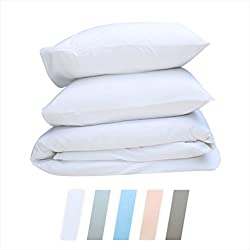 Best Hotel Luxury Bedding 3-Piece Full/Queen Pure White Duvet Cover Set, 400 TC 100% Long-Staple Combed Cotton Soft, Silky & Breathable Duvet Cover Set, Perfect Cover for your Down Comforter