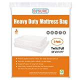 BYSURE 2 Pack 5 Mil Extra Thick Mattress Bag for Moving and Storage - Not Clear Plastic - Protecting Your Mattress and Your Privacy, Fits Twin/Full Size