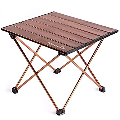 Alpcour Portable Camping Table - Lightweight, Compact Folding Side Table in a Bag with Aluminum Top & Heavy Duty Hinge for Easy Travel & Storage - Great for Outdoor BBQ, Backpacking, Tailgate & More