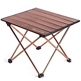 Alpcour Portable Camping Table – Lightweight, Compact Folding Side Table in a Bag with Aluminum Top & Heavy Duty Hinge…