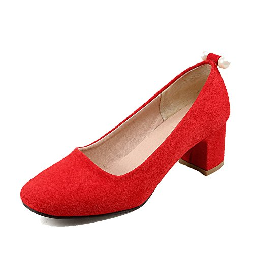 WeenFashion Women's Solid Frosted Kitten-Heels Pull-on Square Closed Toe Pumps-Shoes, Red, 36 by WeenFashion