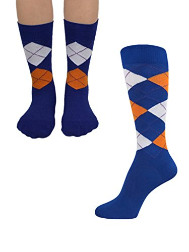 Junior's & Mens Wedding/Father&Son matching Halloween Costume Argyle Dress Socks Set Royal Blue/White/Bright Orange