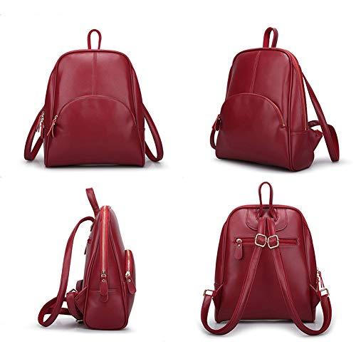 Elegante Para Moda Pu Impermeable Casual Cuero dcgun Antirrobo Daypack Universitarias Damas Bf Mochila Mujeres rojo tRqPwAvx