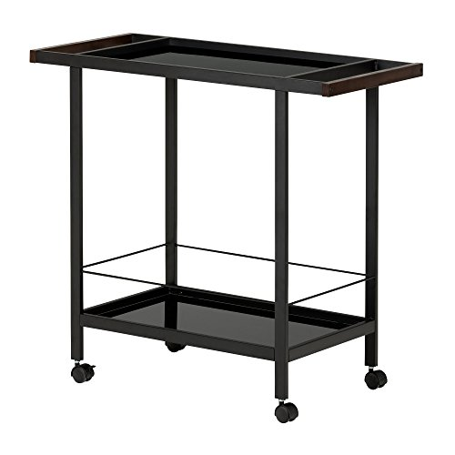 (South Shore Metal Bar Cart on Wheels with Glass Shelves, Black Tempered Glass )