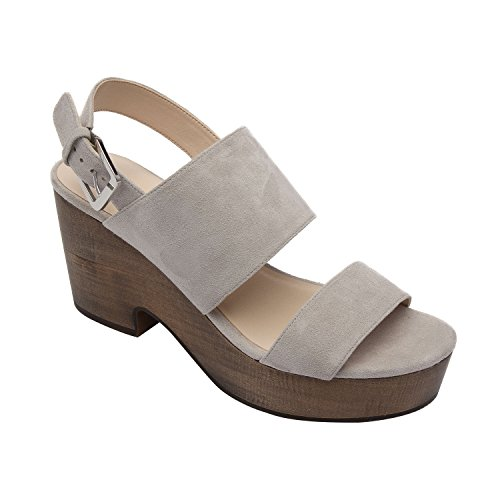 Pic & Pay Imelda | Women's Slingback Wood Platform Leather Suede Sandal Comfortable Clog Grey Suede 6M