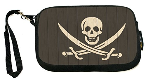 Rikki Knight UKBK Neoprene Smartphone Bag - Pirate Flag on Distressed Wood for Universal/Smartphones