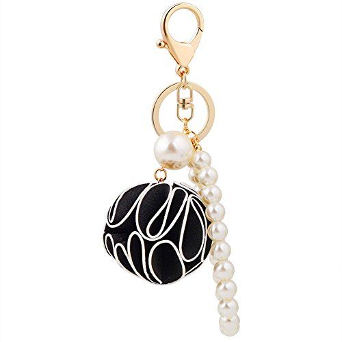 Pink Beaded Key Chain (DIY Clothing&Accessories Keychain Handmade Beaded Material Pearls Flower Ball Keychain Pearl Ornaments Bag Material Key Holder,Black)
