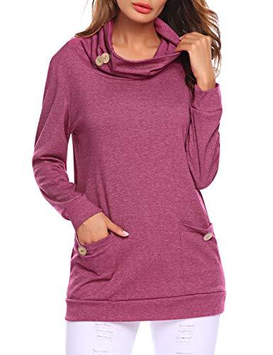 Halife Long Tunics for Juniors,Women's Lighweight Sweatshirt Blouses Tops Cotton Knits Shirts Purple Red L