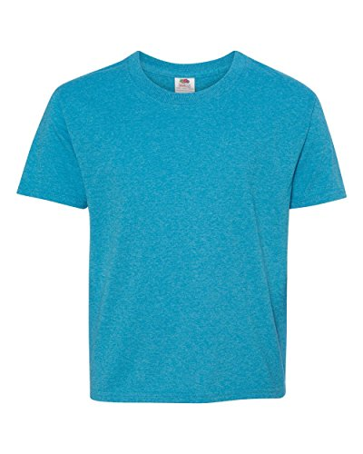 Bodek And Rhodes 52750405 3930B Fruit of the Loom Youth Heavy Cotton HD T-Shirt Turquoise Heather - Large