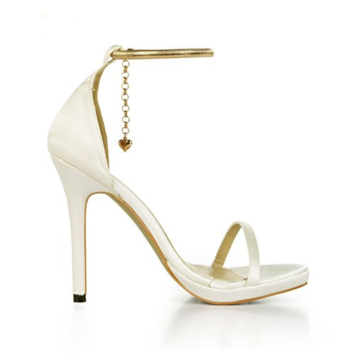 Basic Summer Beige Beads Chain Comfortable Toe Sandals 12cm Peep 4u Heels Faux Silk Shoes High Pumps Wedding Pearl Best Women's 01qHaEE