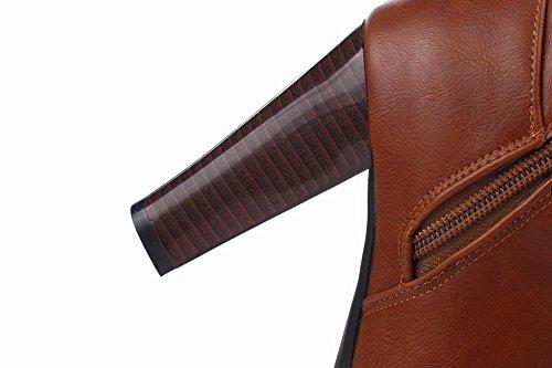 Mee Shoes Damen langschaft high heels Reißverschluss mit Strass Stiefel Braun