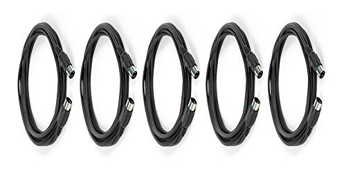 eDragon 5 Pack MIDI Cable with 5 Pin DIN Plugs, 15 Feet, - Black
