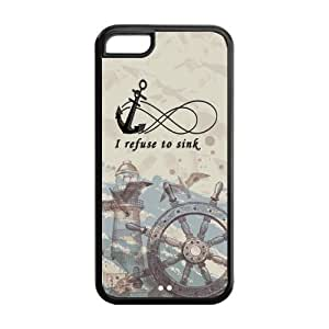 5C Phone Cases, Vintage Anchor Infinite Hard TPU Rubber Cover Case for iPhone 5C