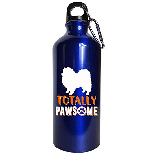 American Eskimo Spitz Dog Lover Gifts Totally Pawsome - Water Bottle Metallic Blue