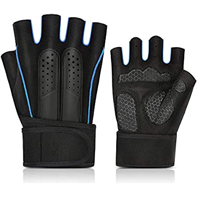 DYEWD New fitness wristband half finger gloves 100 waterproof gloves windproof and breathable suitable for outdoor sports rock climbing costumes driving motorcycle camping etc blue Estimated Price £18.62 -