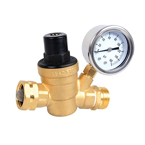 Esright Brass Water Pressure Regulator Lead-free with Gauge for Adjustable RV Water Pressure Regulator (NH threads) (Pressure Valve Regulator)