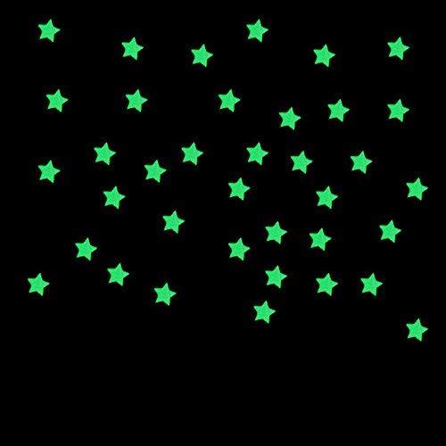 kingwo 100pc Sticker Mural Fluorescent pour Chambre d'enfant Étoiles Lumineuses Autocollants Lumineux (Rose) Kingwo-sticker