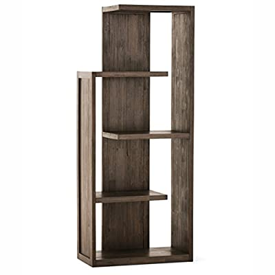 Simpli Home AXCMON-05 Monroe Solid Acacia Wood 72 inch x 30 inch Rustic Bookcase in Distressed Charcoal Brown - Handcrafted with care using the finest quality solid Acacia Hardwood Hand-finished with a Distressed Charcoal Brown stain and a protective NC lacquer coating to accentuate and highlight the grain and the uniqueness of each piece of furniture Style features asymmetrical shelving - living-room-furniture, living-room, bookcases-bookshelves - 41%2B4ZoZrSSL. SS400  -