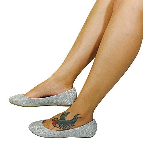HapHop New Premium Ballerina Round Toe Women's Classic Casual Ballet Fancy Flat Shoes, Silver Glitter, (Silver Glitter Ballet Flats)