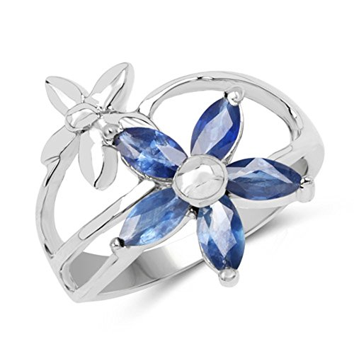 Genuine Marquise Blue Sapphire Ring in Sterling Silver - Size ()