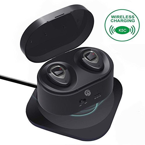 Bluetooth Earbuds - HiFi Stereo Ultralight Sport Wireless Earbuds, Portable Charging Box-Support Wireless Charge, In-Ear Bluetooth Headphones w/Mic for iPhone iPad Android(K5C-metallic) by WOWOGO