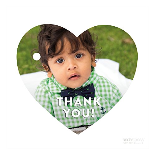 Andaz Press Photo Personalized Thank You Favor Gift Tags, Heart, Modern Style, 30-Pack - CUSTOM MADE ANY IMAGE