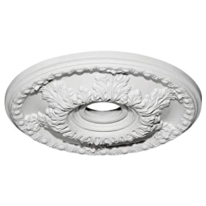 Ekena Millwork CM18GA Granada Ceiling Medallion, 18″OD x 3 1/2″ID x 2 1/2″P (Fits Canopies up to 6 5/8″), Factory Primed