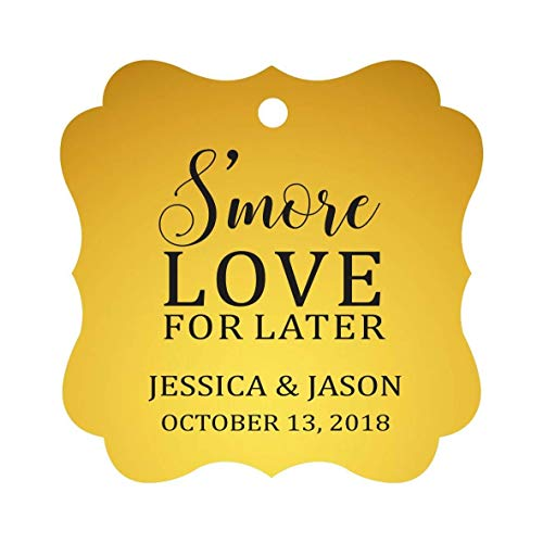 Darling Souvenir S'More Love For Later Tag Custom Favor Fancy Hang Tags -Metallic Gold-100 Tags ()