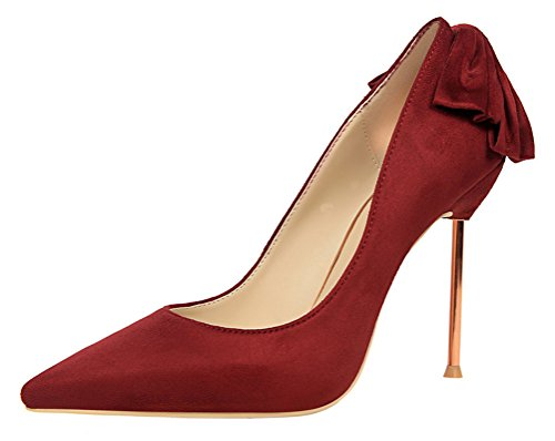 Passionow Women's Fashion Back Bow Stiletto Metal High Heels Shallow Pointed Toe Dress Suede Pumps (5.5 B(M) (Mystique Studded Sandals)