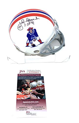 John Hannah New England Patriots Signed Autograph Mini Helmet HOF Inscribed JSA Certified ()