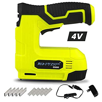 BHTOP Cordless Staple Gun, 4V Power Brad Nailer/Staple Nailer?Electric Staple with Rechargeable USB Charger, Staples and Brad Nails Included