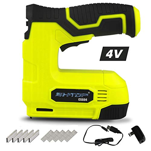 BHTOP Cordless Staple Gun, 4V Power Brad Nailer/Brad Nailer,Electric Staple with Rechargeable USB Charger, Staples and Brad Nails Included