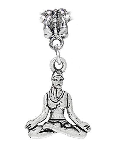 (Yoga Meditation Sitting Sukhasana Pose Gym Dangle Charm for European Bracelets Crafting Key Chain Bracelet Necklace Jewelry Accessories Pendants)