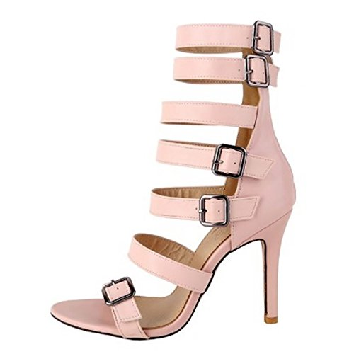 Alto Zapatos Botas Moda Sandalias Tacon Gladiator Correas Mujer Cremallera TAOFFEN Rosado Hueco wqpzSTO