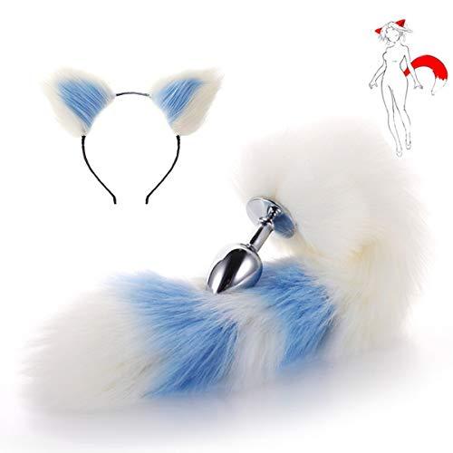 Fox Tail Cat Headband Headwear - B-ütt an-âl Pl-ùg T-ö-ys for Wömén Bêginnêrs Mên(White and Blue)-S]()