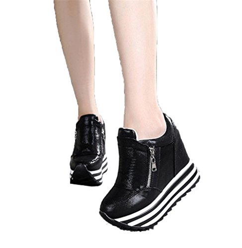 YC WELL Womens Increased Within The Higher Flat Shoes Side Zipper Casual High Heels Wedges Platform Sneaker(Black,5.5) (Side Platform Zipper)